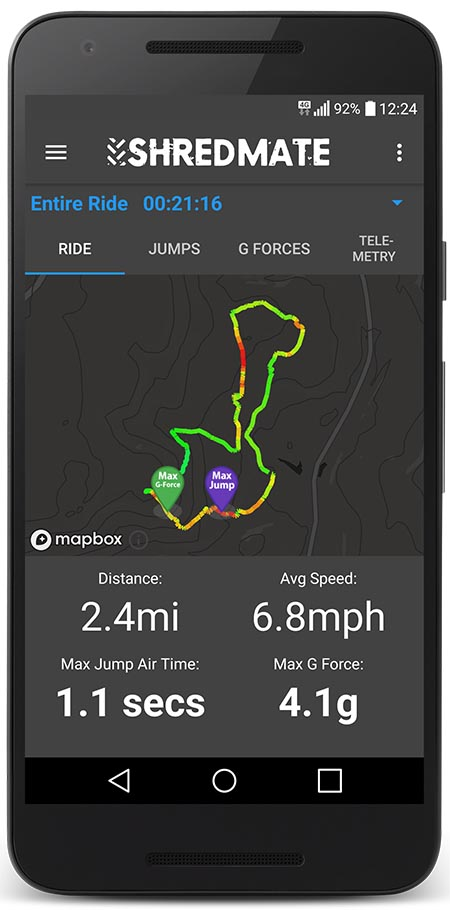 ShredMate locates, tracks and measures your jump air time – and landing g force