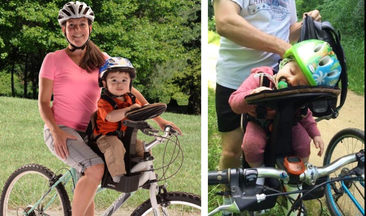 7 of the Best and Safest Baby and Child Bike Seats Compared, with Reviews - 2019. The Front-Mounted WeeRide LTD Kangaroo Child Bike Seat is another highly rated front-mounted child bike seat, which is rated to carry children up to 40 pounds. 7 Best Child Bike Seats