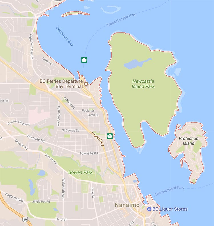 Here is a map that shows where Newcastle Island is, relative to Nanaimo.