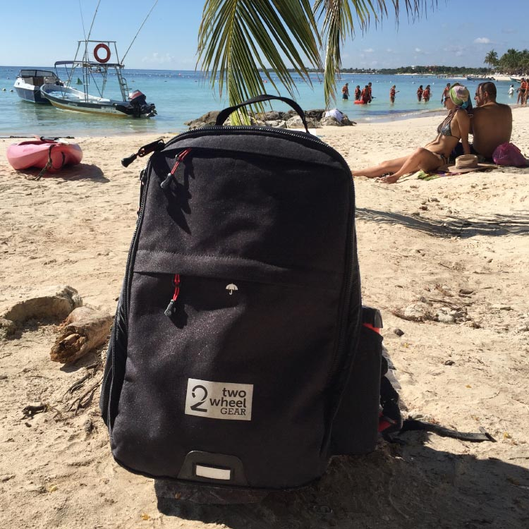 Top Cycling gifts. I use my Two Wheel Gear Convertible Backpack/Pannier almost every day, wherever I am, and have taken it all over the world. Here it is on Akumal Beach in Mexico!