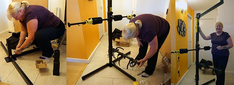 Maggie assembling the Totem Bike rack as a bike stand in our condo