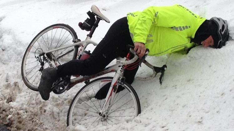 Top 10 Tips for Winter Cycling. If all else fails: if you find yourself losing control, aim for a snow bank – it will be a softer landing than hitting a car.