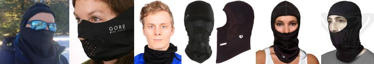 7 of the Best Cycling Balaclavas – How to Choose the Best Balaclava. From left to right: the Weatherneck System Balaclava; Gore Bike Wear Balaclava mask; Trendy Swede Face Mask Sports Balaclava; Chaos CTR Chinook Micro Fleece Balaclava with Windproof Face Mask; Pearl Izumi Barrier Balaclava; Pearl Izumi Transfer Balaclava; Outdoor Research Option Balaclava