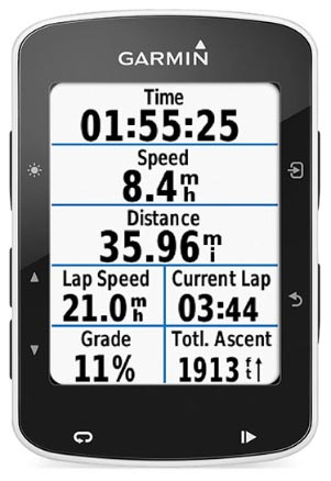 Garmin Edge 520 vs. Wahoo ELEMNT. Both the Garmin Edge 520 and the Wahoo ELEMNT can show you multiple data screens on pages that you set up, based on your preferences. This picture shows the Garmin Edge 520