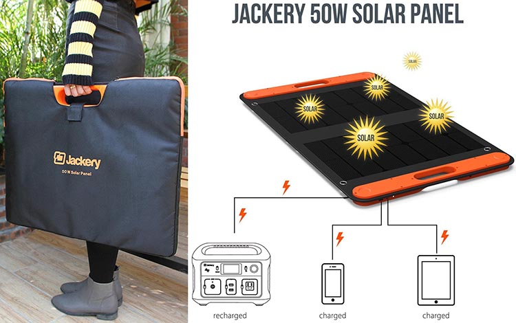 The photo on the left shows how the Jackery Solar Panel folds up into a carry bag, and the diagram shows what the solar panel looks like and what it can charge