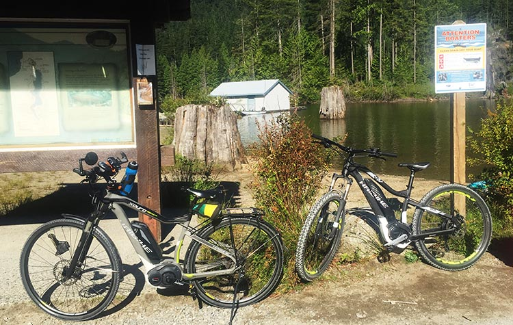 Cycling near Buntzen Lake, British Columbia, Canada. Here are our bikes parked at Buntzen Lake. On this particular day, we used our electric bikes