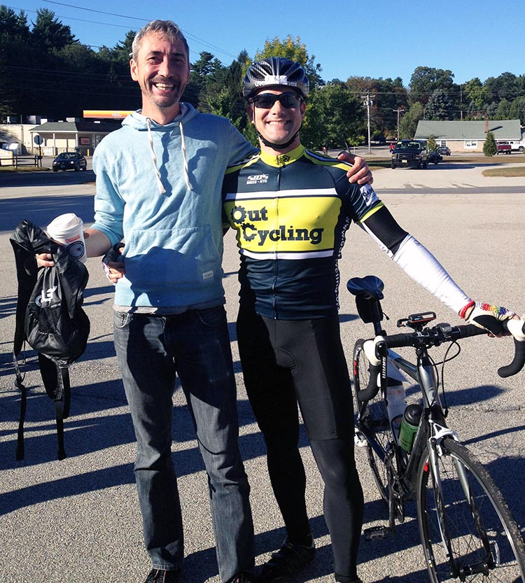 This is Marcus with the man who inspired him to ride for the Cause - his husband, Jesse Johnson. Cycle for the Cause. Photo credit: Inspired Storytellers