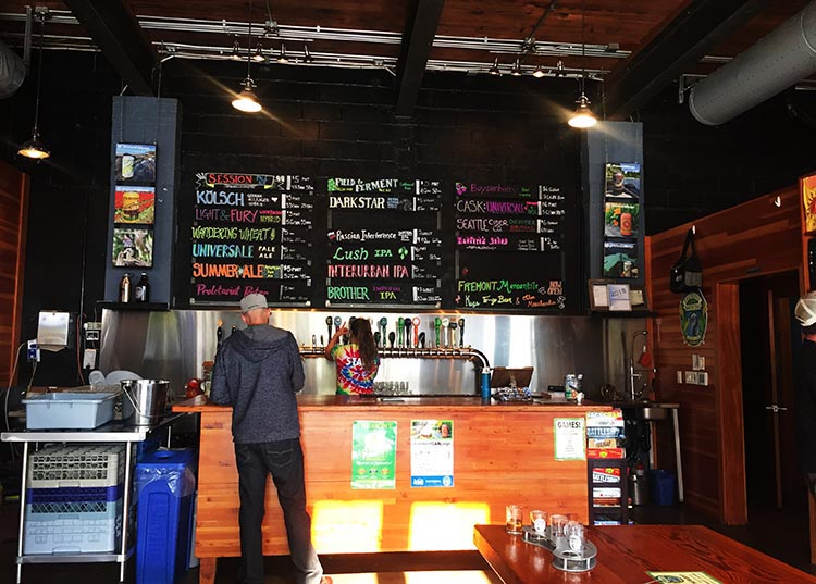 Fremont Brewing offered an overwhelming number of choices of local beers and ciders