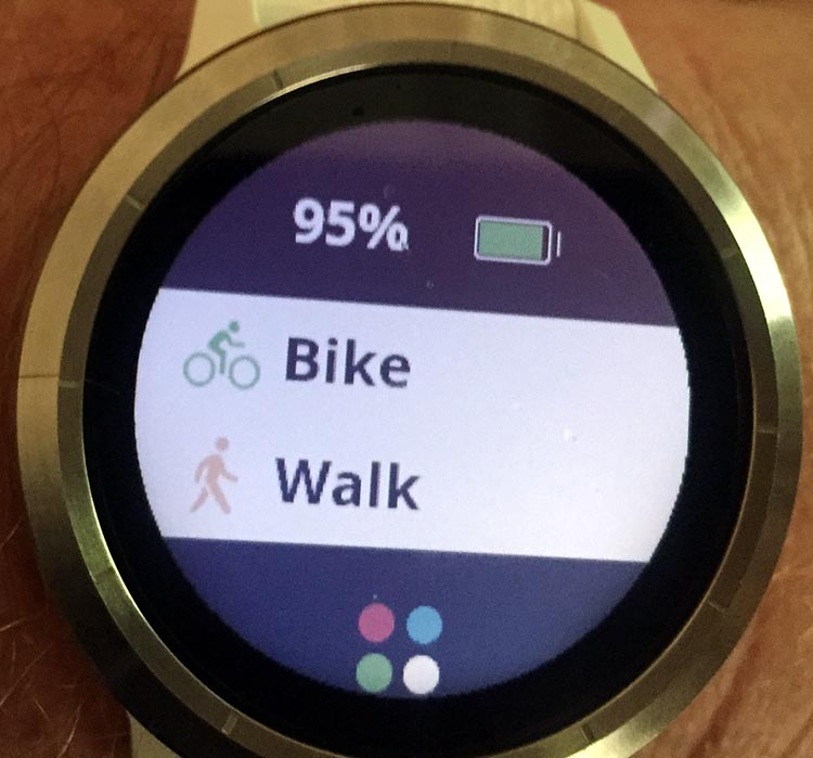How to Record a Bike Ride with Your Garmin Vivoactive 3. Every time you press the button on the side of your Garmin Vivoactive 3, you will be offered a choice of the activities you have chosen as favorites