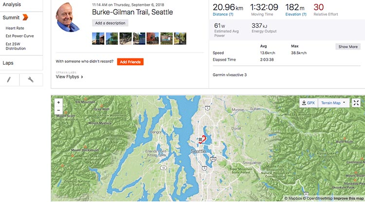How to Record a Bike Ride with Your Garmin Vivoactive 3. I like using the Strava dashboard. It's very comprehensive, and it's fun to upload photos to remind you of what you did and saw on that bike ride