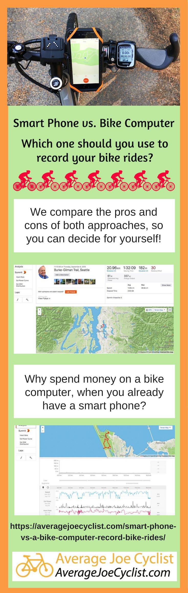 Smart Phone vs a Bike Computer for Recording Bike Rides