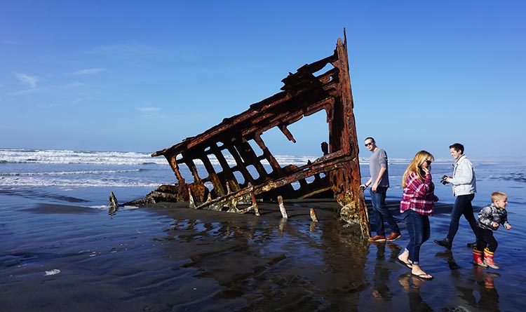 Here is a closer view of the wreck of the Peter Iredale