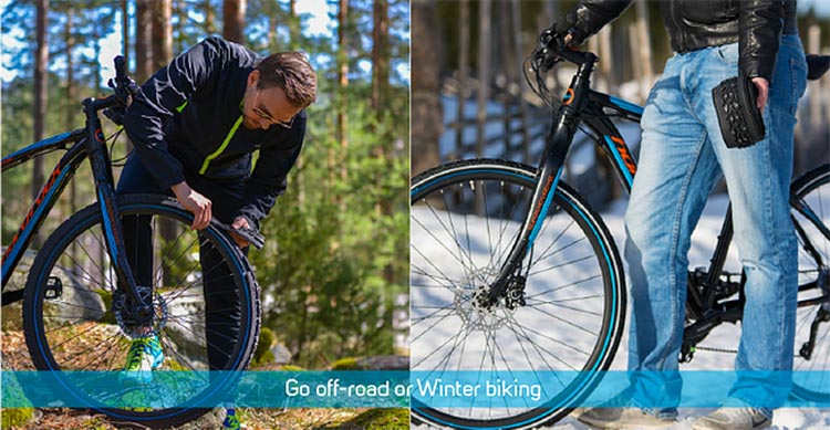 Win a Set of reTyres – Skins for Bike Tires! The idea with reTyres is that you are always ready for cycling on pavement, off-road, OR on snow and ice
