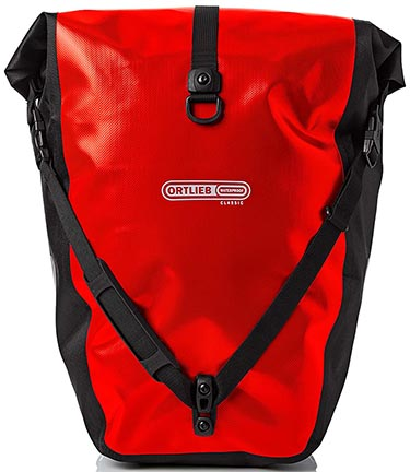 Best Waterproof Bike Panniers for Touring and Commuting - Ortlieb Bike Panniers: Front view of an Ortlieb Rear-Roller Classic Pannier