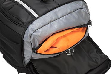 The Targus Targus Work + Play Cycling Backpack comes with a bright orange waterproof cover that you can whip out in the event of rain