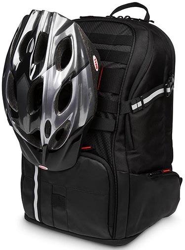 The webbing on the front of the Targus Work + Play Cycling Backpack is handy, because you can attach items to it, such as your helmet