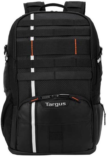 The Targus Work + Play Cycling Backpack has webbing on the front so you can attach items to it, such as your helmet
