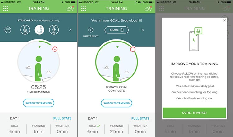 Review of Upright Go Posture Trainer and Corrector. While in training mode, the app will give you encouragement and tips