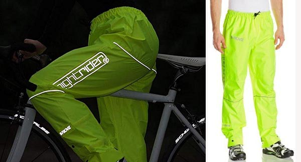 Proviz Nightrider Waterproof Trousers. On the left are the women's pants, showing how visible they are. On the right, the men's pants, showing the relaxed comfort fit