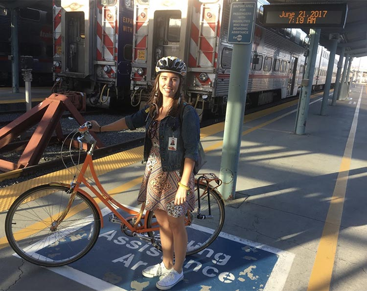 Cycling and the Post-Covid Transformation. Vanessa at San Francisco 4th & King St Station, commuting to San José