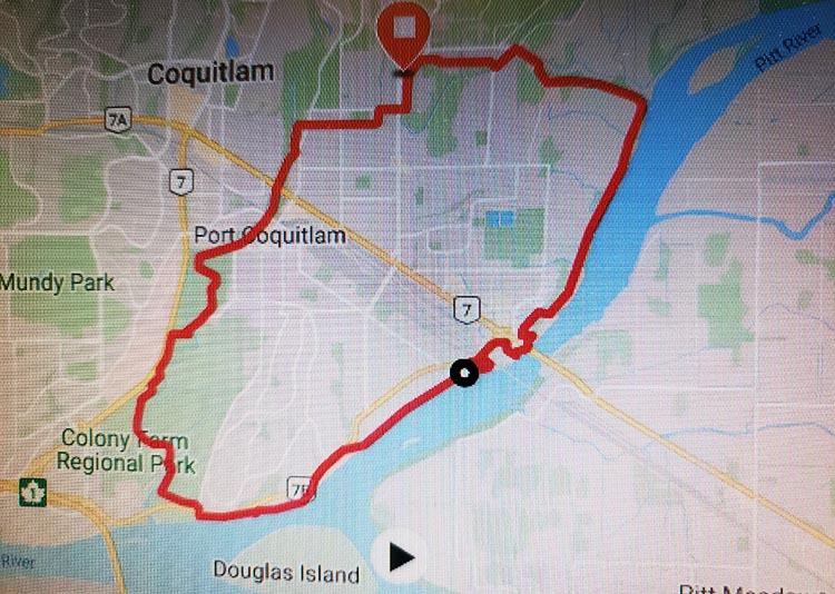 Map of the Traboulay Poco Bike Trail in Port Coquitlam. Our thanks to Allan Wallis for this map