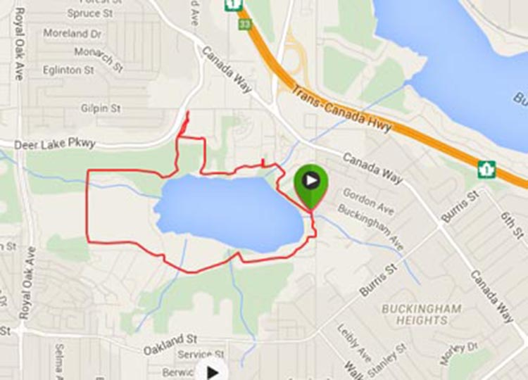 Burnaby Cycling - Great Bike Rides in and Near Vancouver, Canada. map of one ride I took on the Deer Lake Park bike trails