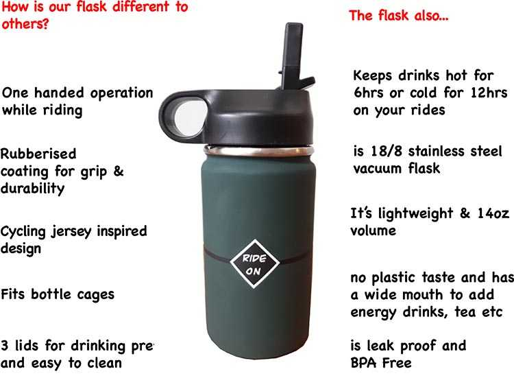 Differences between the new cycling flask and standard flasks