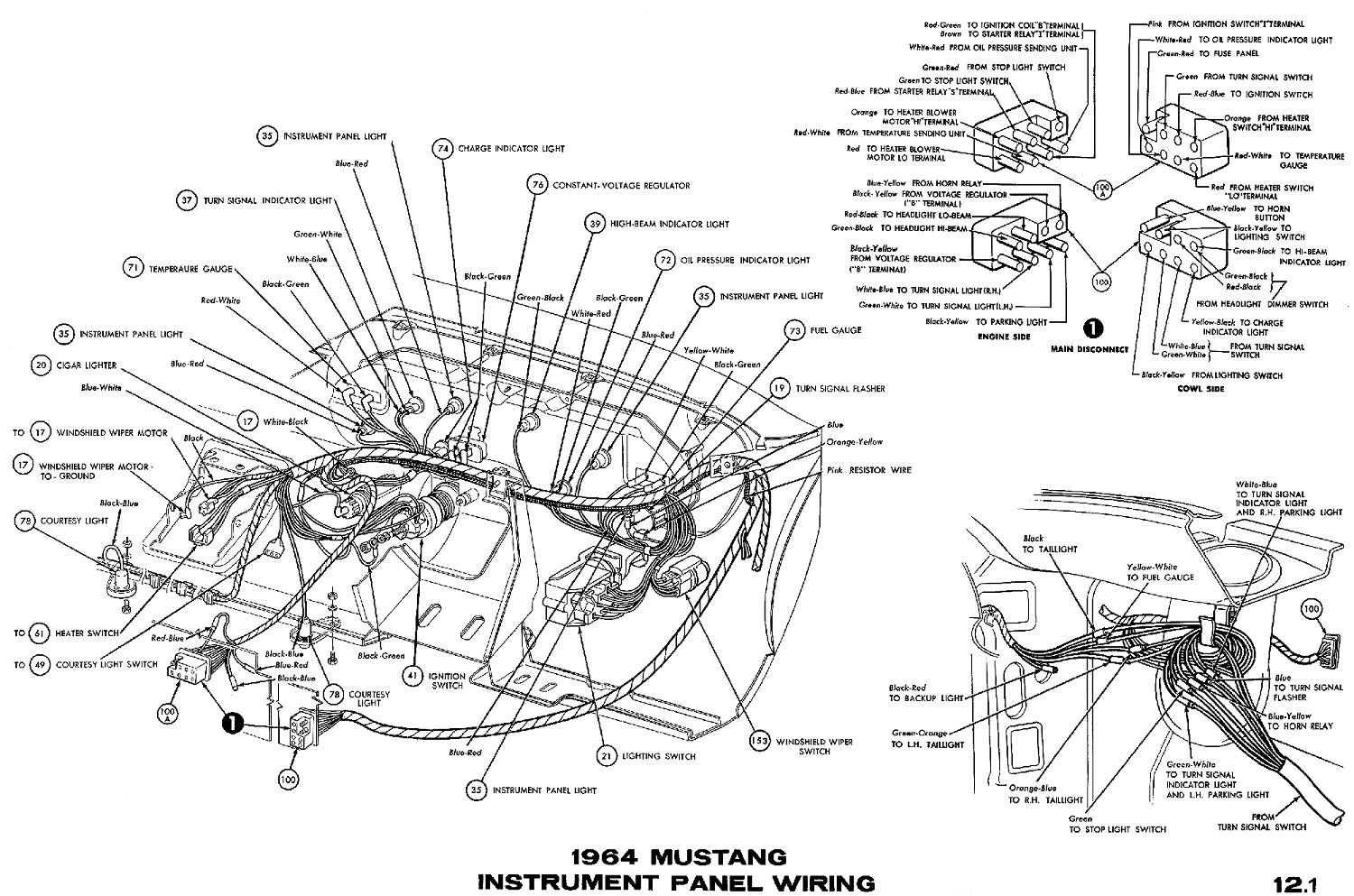 hight resolution of 1964 mustang wiring diagrams average joe restorationinstrument cluster connections wiper switch headlamp switch