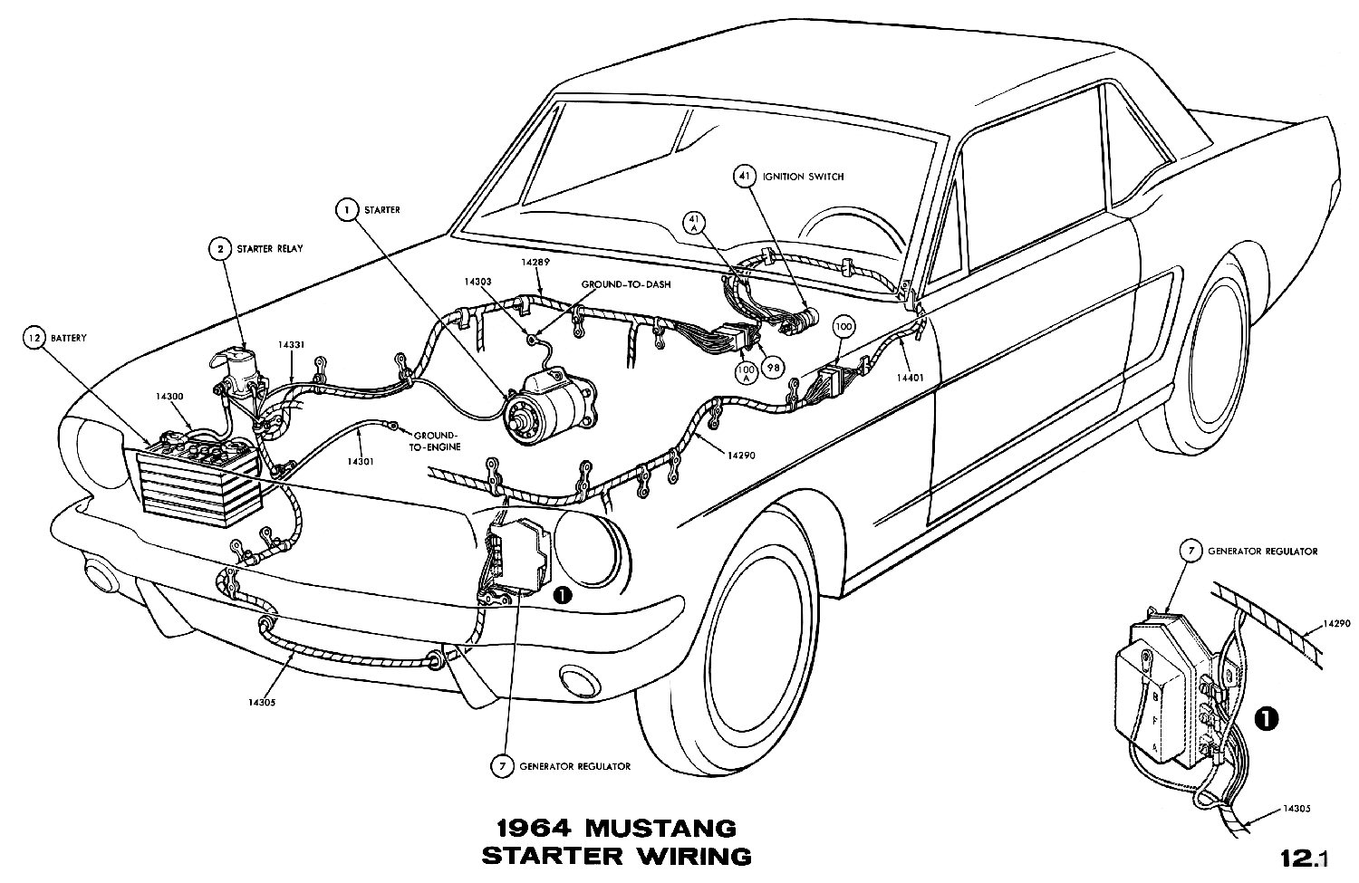 hight resolution of sm1964d 1964 mustang starter wiring pictorial or schematic