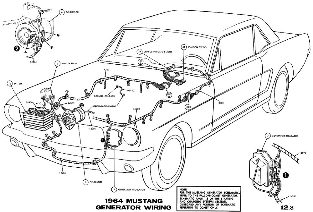medium resolution of sm1964f 1964 mustang generator wiring pictorial or schematic