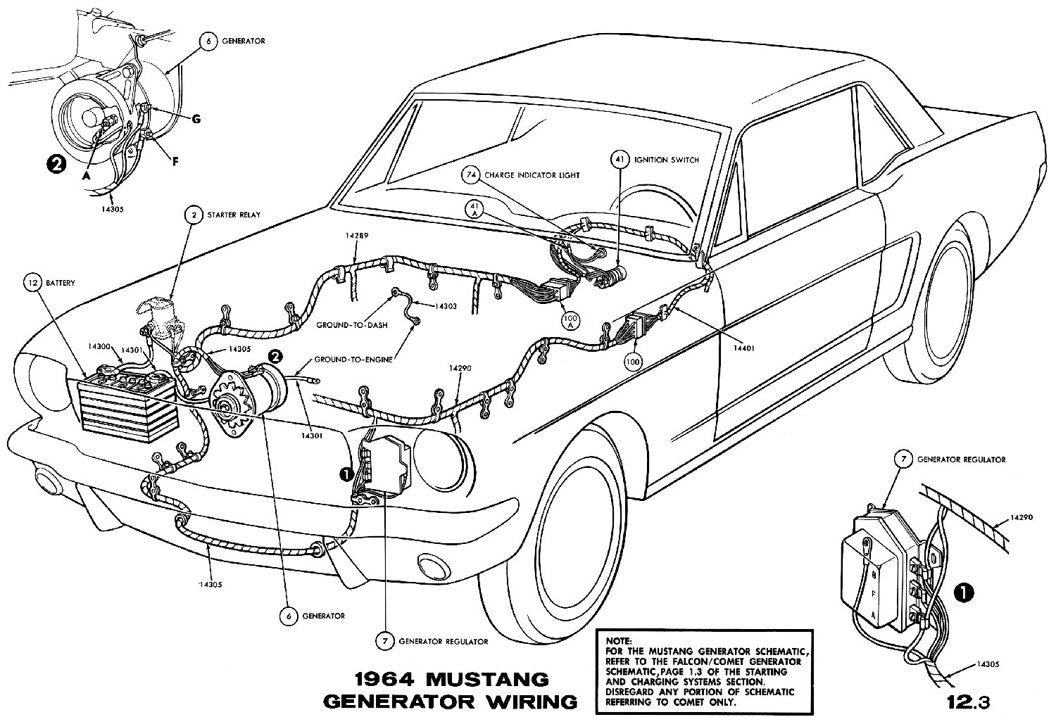 hight resolution of sm1964f 1964 mustang generator wiring pictorial or schematic