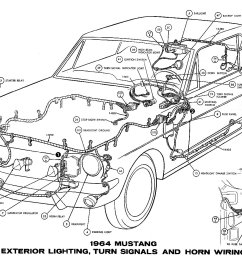1964 mustang wiring diagrams average joe restorationsm1964h 1964 mustang exterior lighting turn signals and horns [ 1500 x 930 Pixel ]