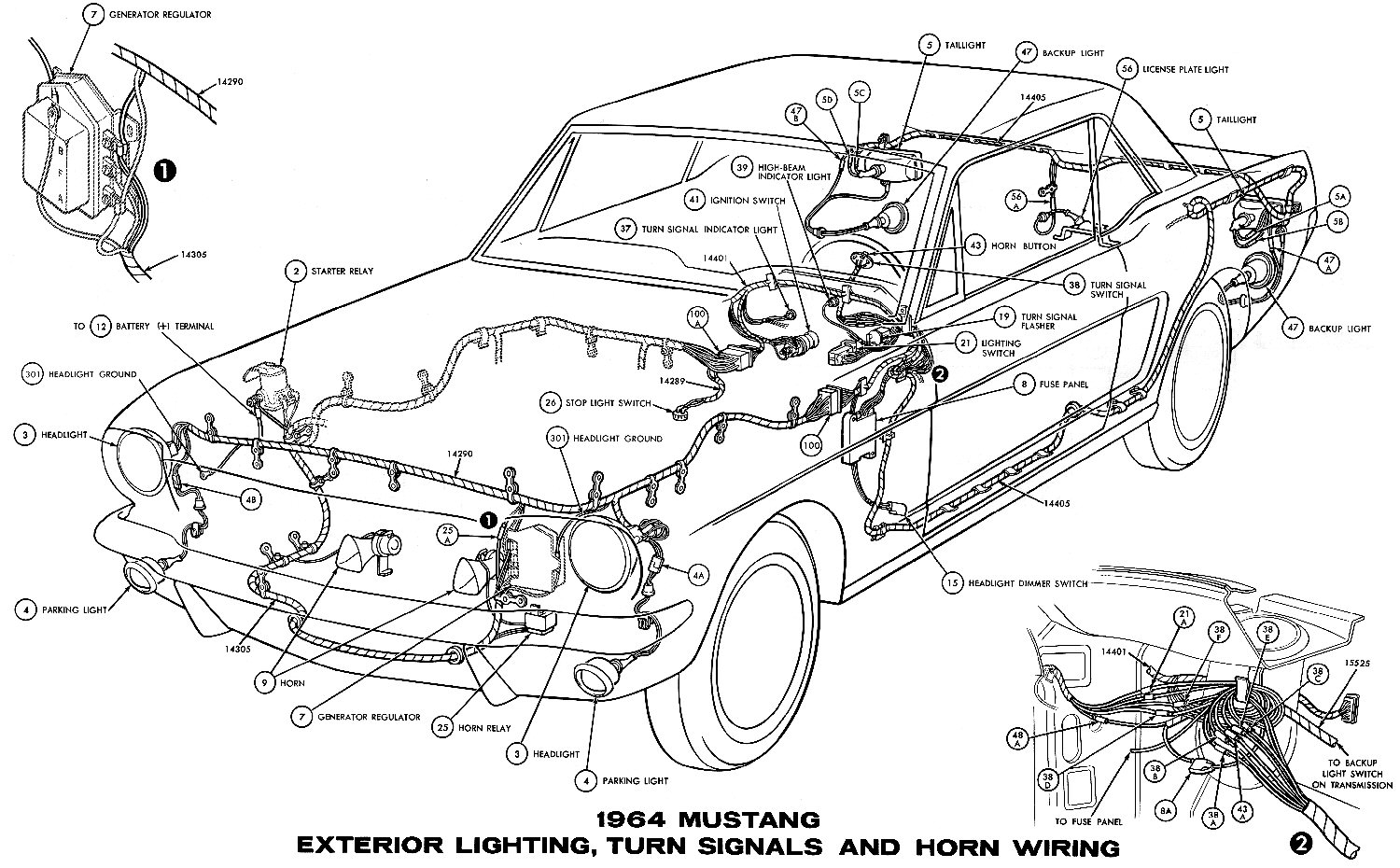 hight resolution of 1964 mustang wiring diagrams average joe restorationsm1964h 1964 mustang exterior lighting turn signals and horns