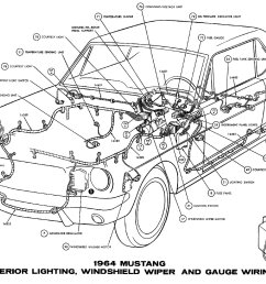 sm1964j 1964 mustang interior lights windshield wiper and gauges pictorial or schematic [ 1500 x 1067 Pixel ]