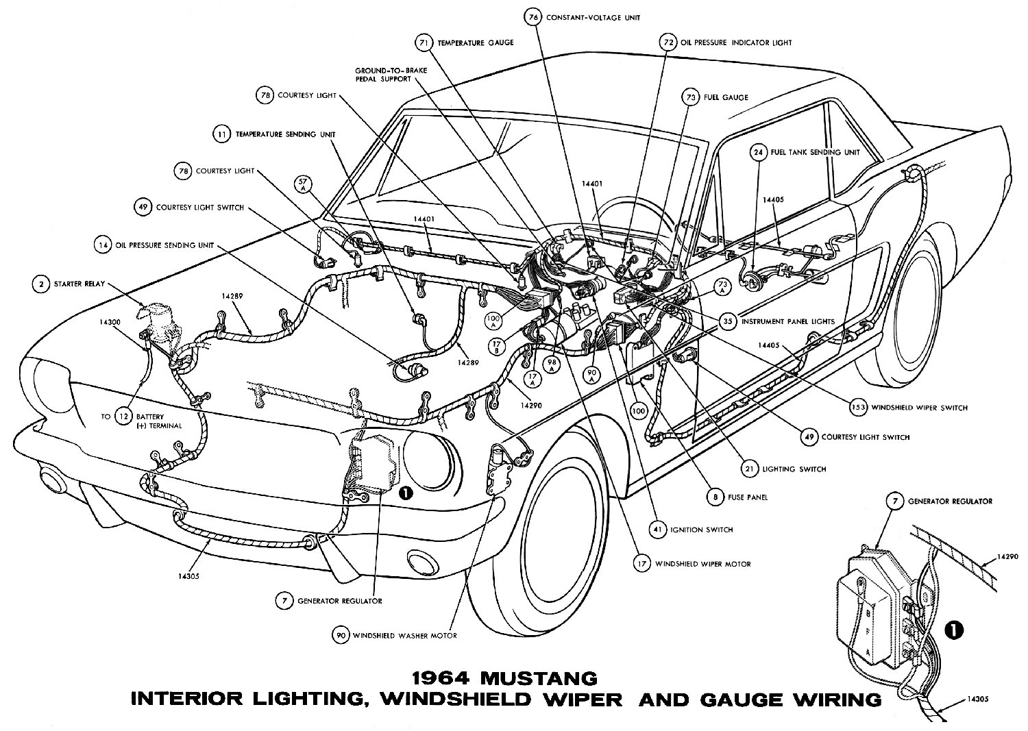 hight resolution of sm1964j 1964 mustang interior lights windshield wiper and gauges pictorial or schematic