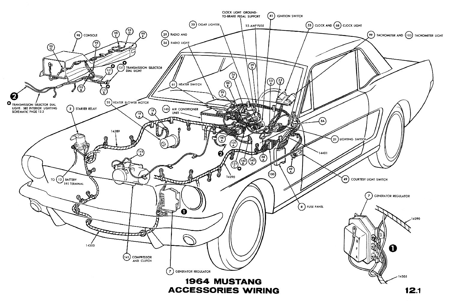 hight resolution of sm1964l 1964 mustang accessories pictorial or schematic