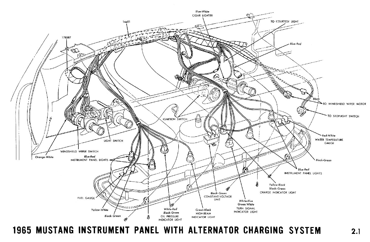 1965 Ford Mustang Alternator Wiring Color 1985 Diagram Hight Resolution Of 1965a Instrument Panel With