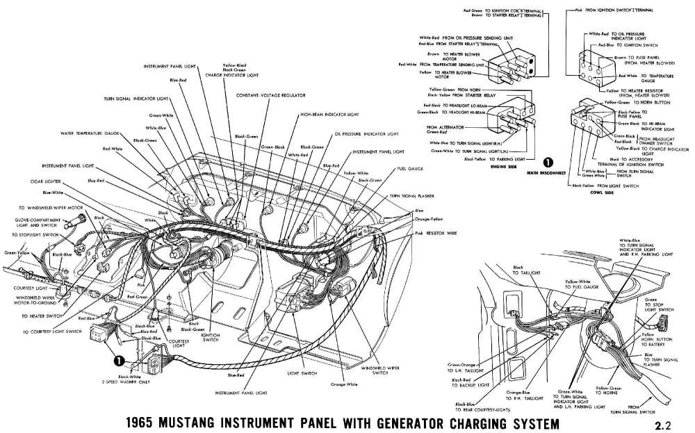 medium resolution of 1965 mustang instrument panel with generator charging system pictorial ford