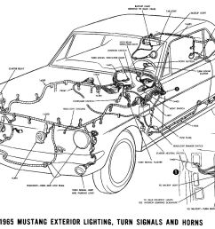 1965 mustang exterior lighting turn signals and horns pictorial or schematic [ 1500 x 978 Pixel ]