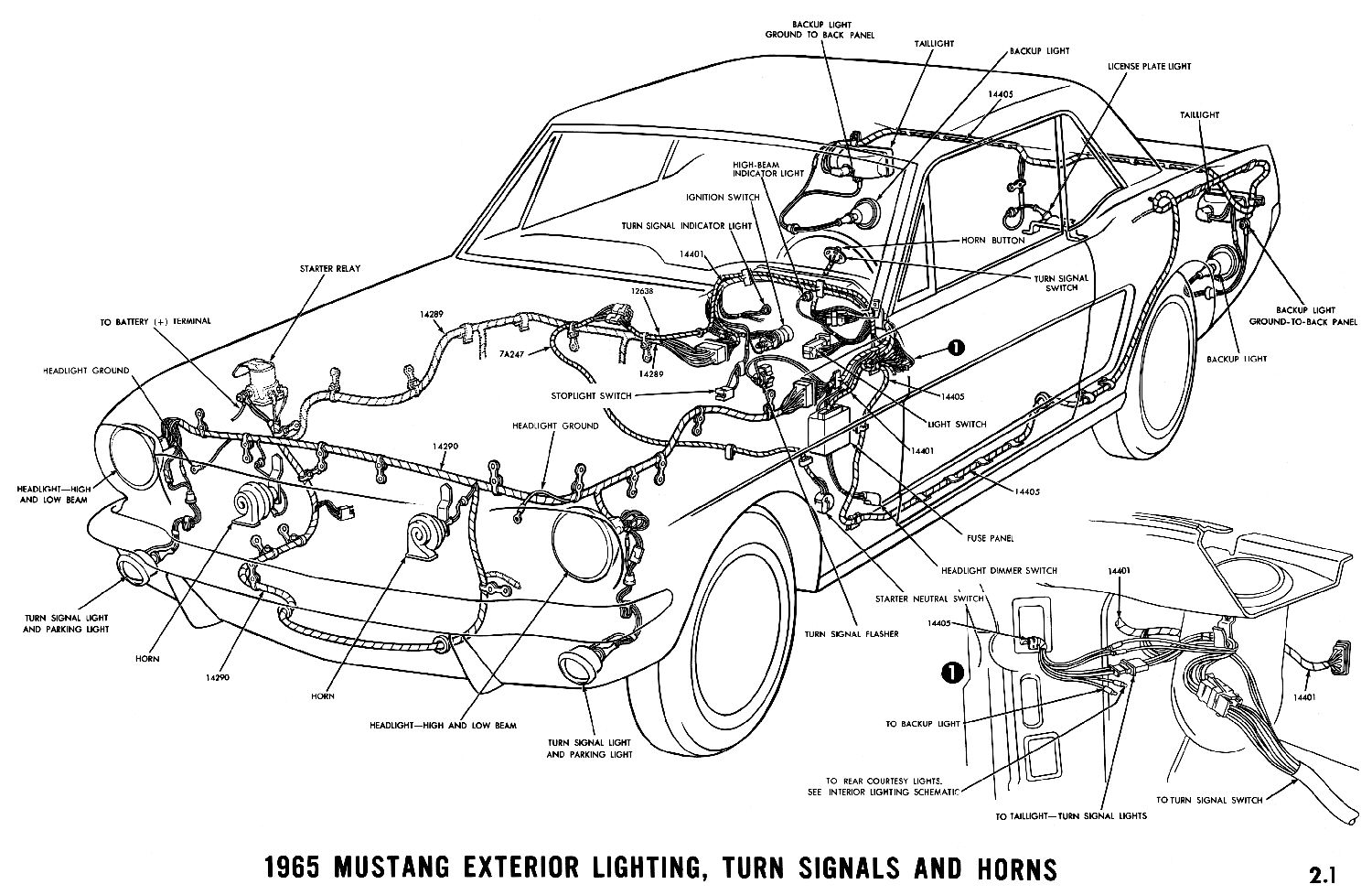 hight resolution of 1965 mustang exterior lighting turn signals and horns pictorial or schematic