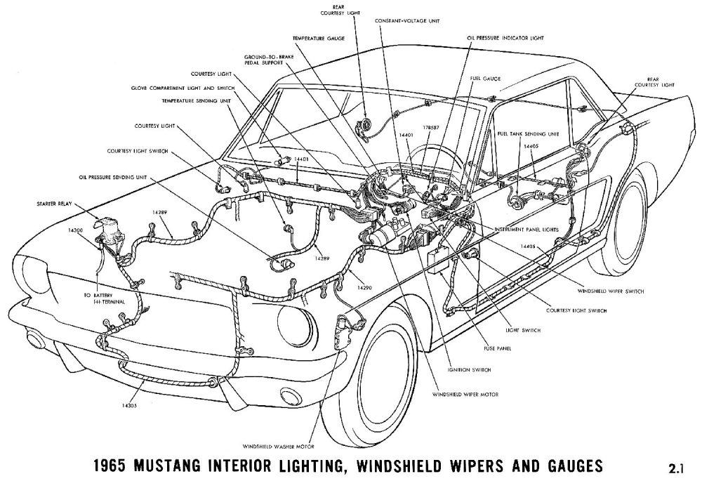 medium resolution of 1965 mustang interior lights windshield wiper and gauges pictorial or schematic