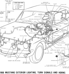 1966 mustang exterior lighting turn signals and horns schematic [ 1500 x 988 Pixel ]