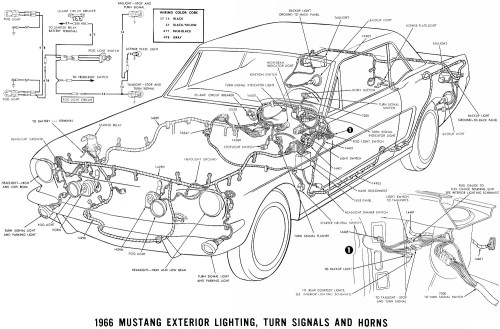 small resolution of 1966 mustang exterior lighting turn signals and horns schematic