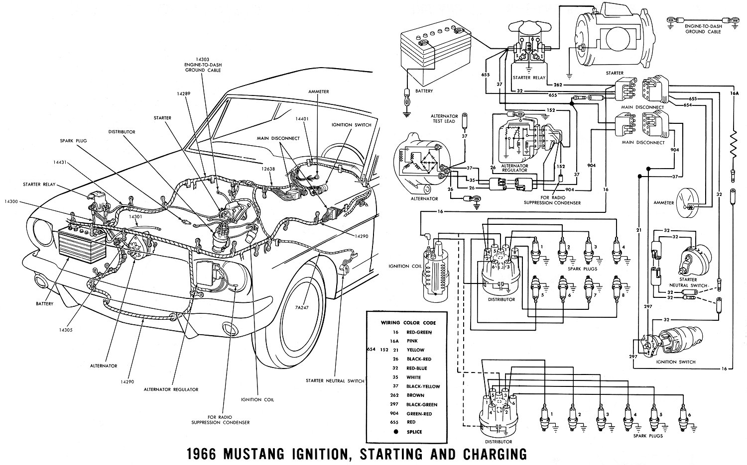 hight resolution of 1966 mustang ignition starting and charging
