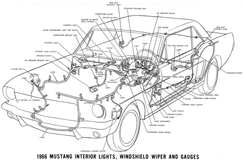 medium resolution of 1966 mustang interior lights windshield wiper and gauges schematic