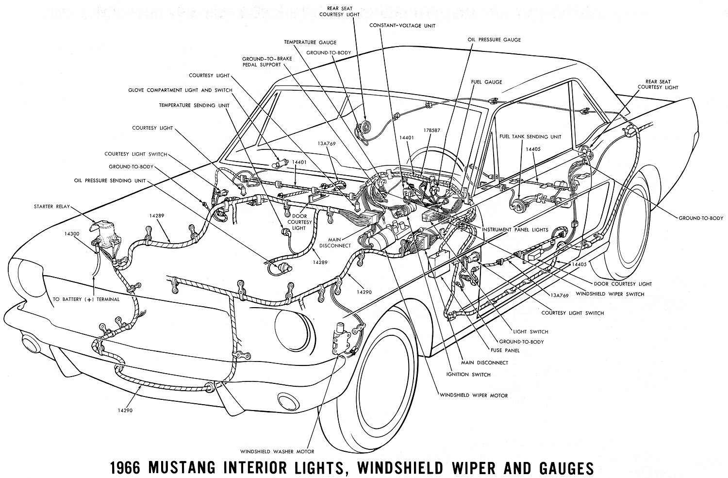 hight resolution of 1966 mustang interior lights windshield wiper and gauges schematic