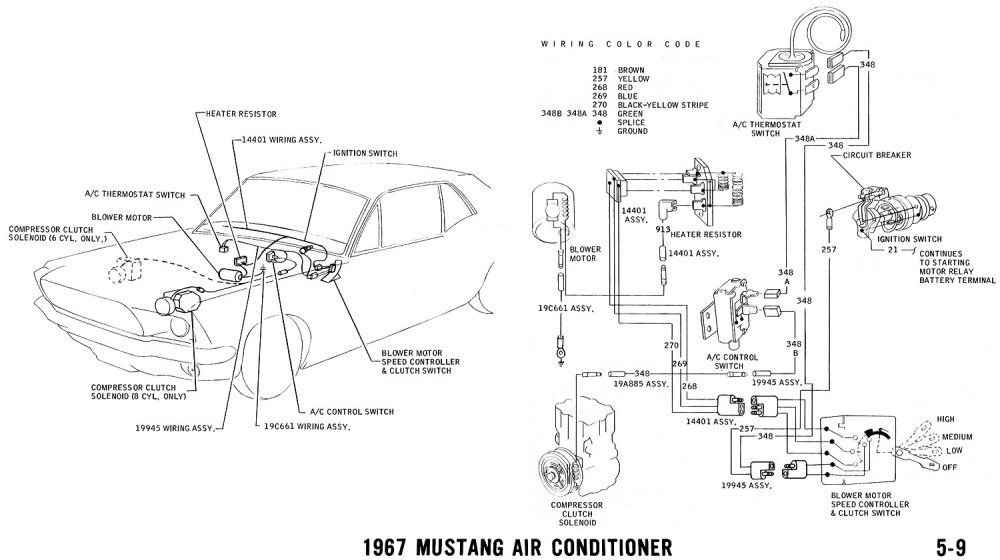 medium resolution of 1967 mustang air conditioner pictorial and schematic