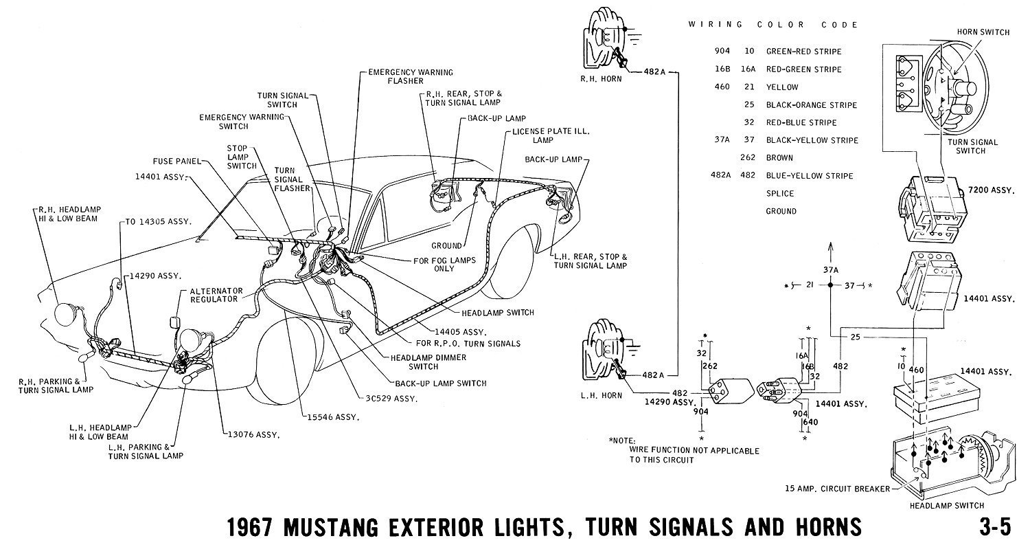 1967 Exterior Lighting and Wiring Diagram: http