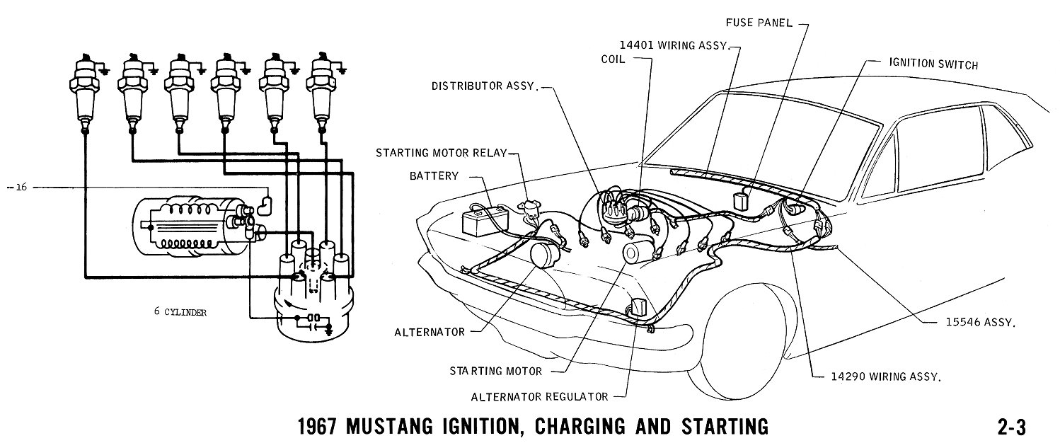 hight resolution of 1967 mustang wiring and vacuum diagrams average joe restoration with mustang 6 cylinder on 67 mustang ignition switch diagram