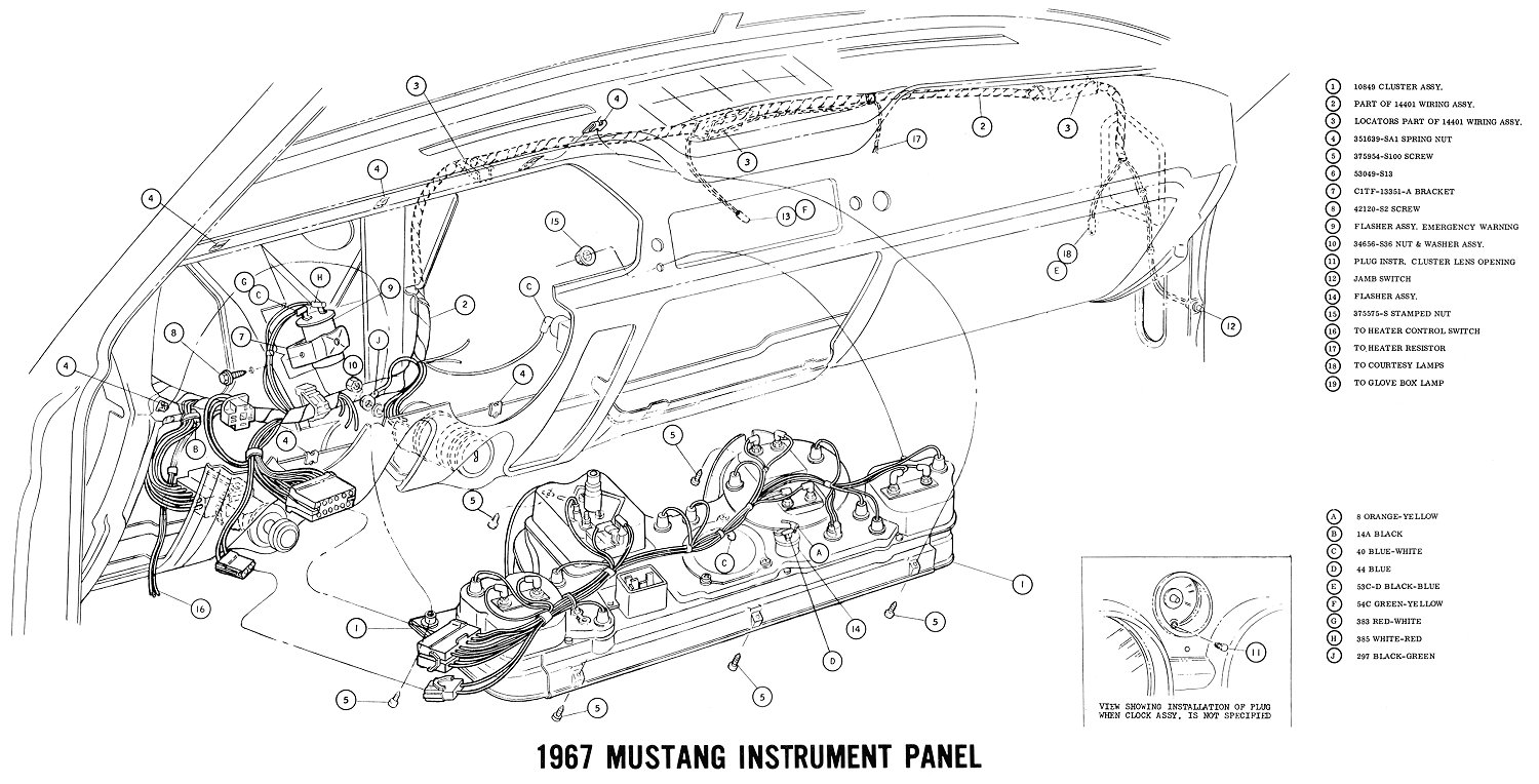 hight resolution of 1967 mustang instrument panel pictorial instrument cluster connections